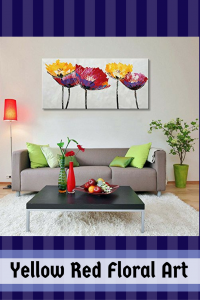 Modern Flower Oil Painting- Yellow Red Floral Wall Art - Floral Home Wall Art Decor