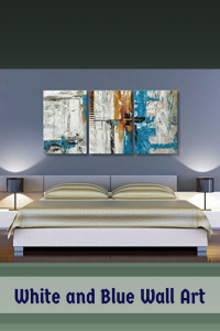 White and sky Blue abstract Wall Art - Home Wall Art Decor