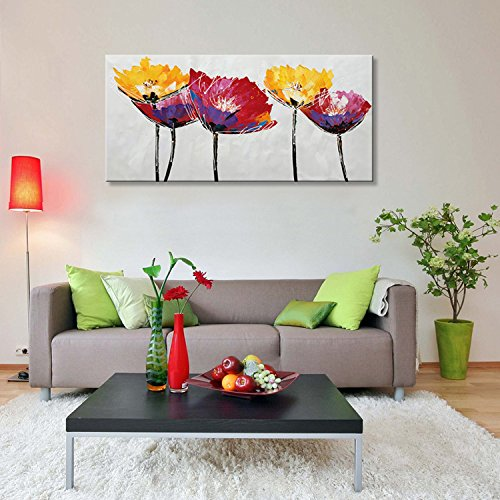 red yellow floral home wall art decor - Modern flower oil painting