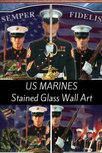 US MARINES Stained Glass Wall Art