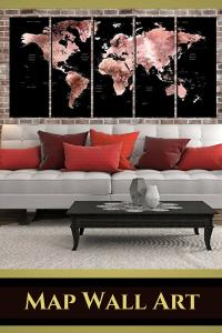 Map Wall Art - map wall decorations - map wall art decor 2018 - map wall art - pink map wall art