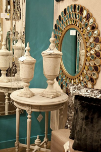ornate glass wall mirror