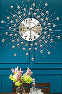 Chic Metallic Round Metal Wall Clock - Large Metal Wall Decor