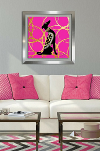 Pink and gold glam dog wal art.