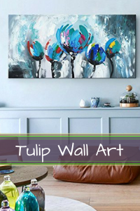 Pretty blue vintage tulip wall art