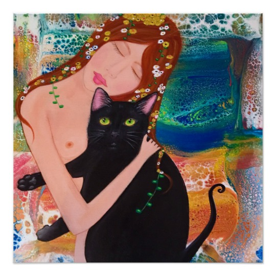 Cute Black Cat Wall Art - Black Cat Wall Decor