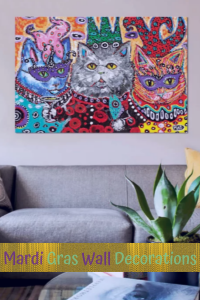 Mardi Gras Wall Decorations - Playful Cat Mardi Gras Wall Art