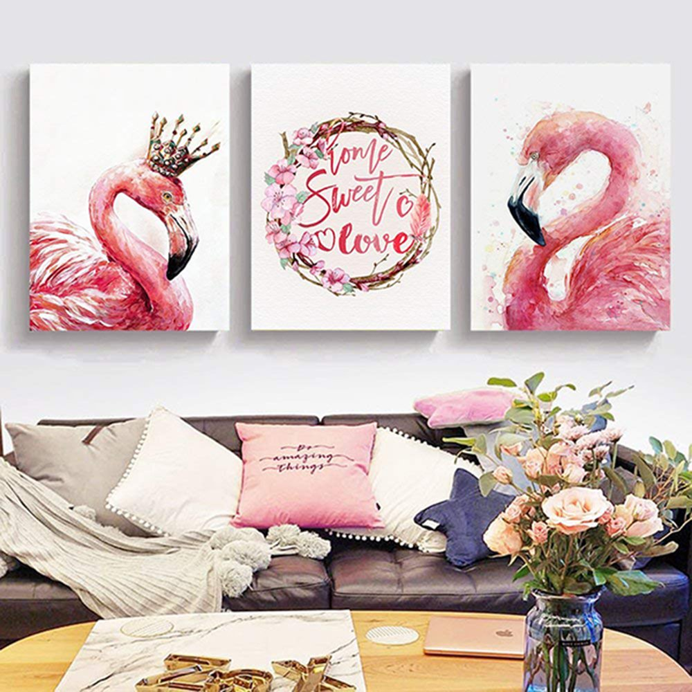 pretty pink flamingo wall decorations