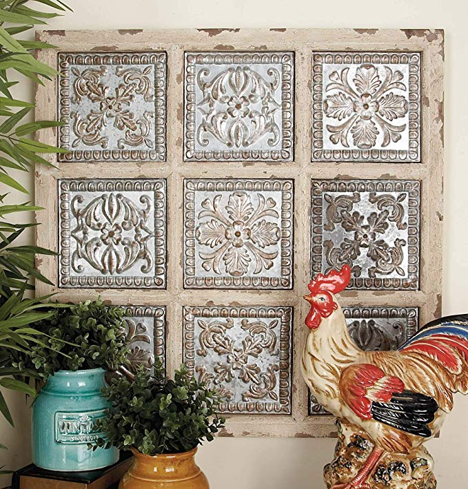 Shabby Chic and Rustic Square Metal Wall art