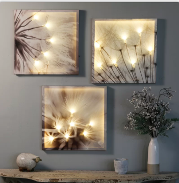 Dandelion' 3 Piece Multi-Panel Floral LED Wall Art