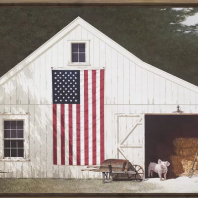 'Barn with Piglet' Framed Patriotic Farmhouse Print