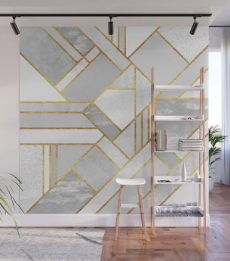 Gold City Wall Mural - White Gold Wall Mural