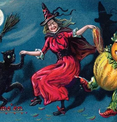 Halloween Graphic Art - Spooky Witches and Pumpkin