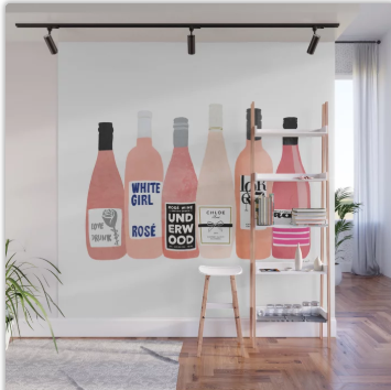 Wine Mural Wall Art - Rose Wine Wall Art