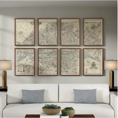 Plan De Paris - 8 Piece Multi-Panel Paris Wall Art