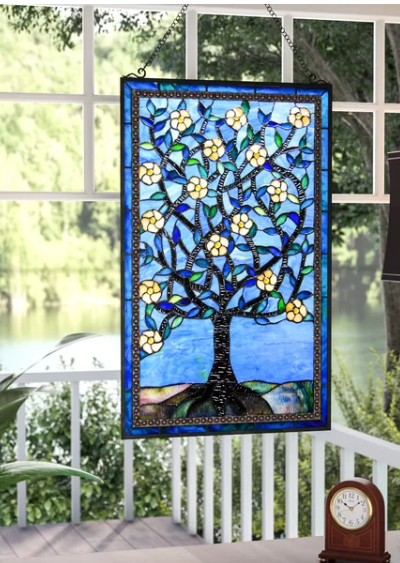 Tree of Life Window Panel - Stained Glass Wall Art