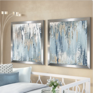 Blue Illusion Square - Blue Wall Decor Set