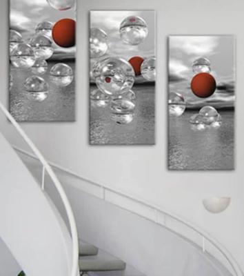 Crimson Spheres Triptpych - Sphere Wall decor