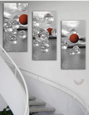 Crimson Spheres Triptpych - Sphere Wall decor