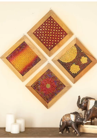 wood mosaic wall decor set