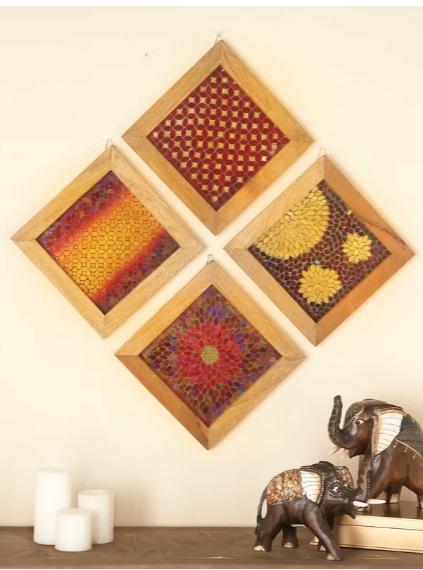 wood mosaic wall decor set