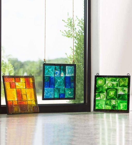 Stained Glass Wall Decor - Framed Square Glass Wall Decor
