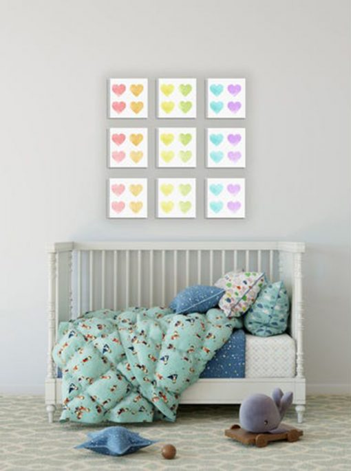 Pastel Heart Wall Decor Set - Heart Wall decor - Pastel wall art