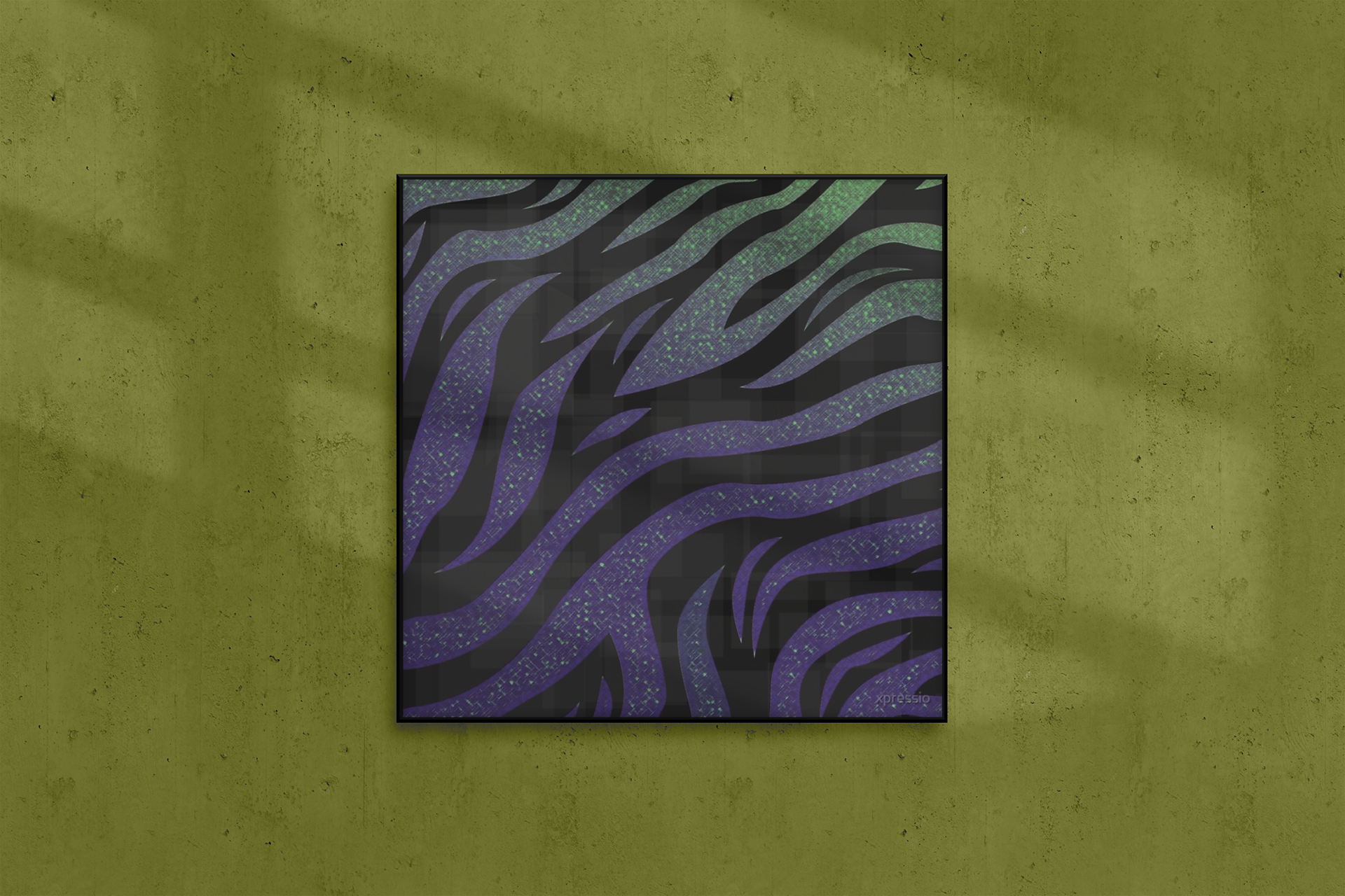 Exotic Galaxy Zebra Stripe Animal Girly Shades Purple Green Print Canvas Print